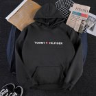 Men Women Hoodie Sweatshirt Printing Letters Thicken Velvet Loose Fashion Pullover Black L