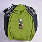 Men Women Hoodie Sweatshirt KAWS Cartoon Standing Doll Thicken Autumn Winter Loose Pullover Green_XL