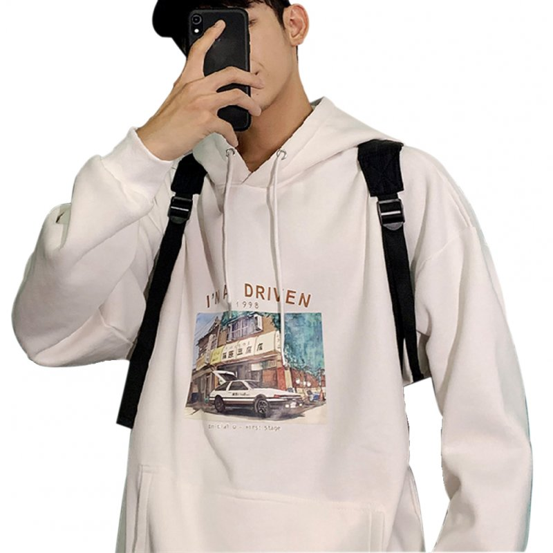 Men Women Hoodie Sweatshirt Printing Letter Car Spring Autumn Loose Pullover Tops White_XXL