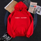 Men Women Hoodie Sweatshirt Printing Letters Thicken Velvet Loose Fashion Pullover Red_M