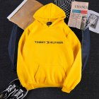 Men Women Hoodie Sweatshirt Printing Letters Thicken Velvet Loose Fashion Pullover Yellow_L