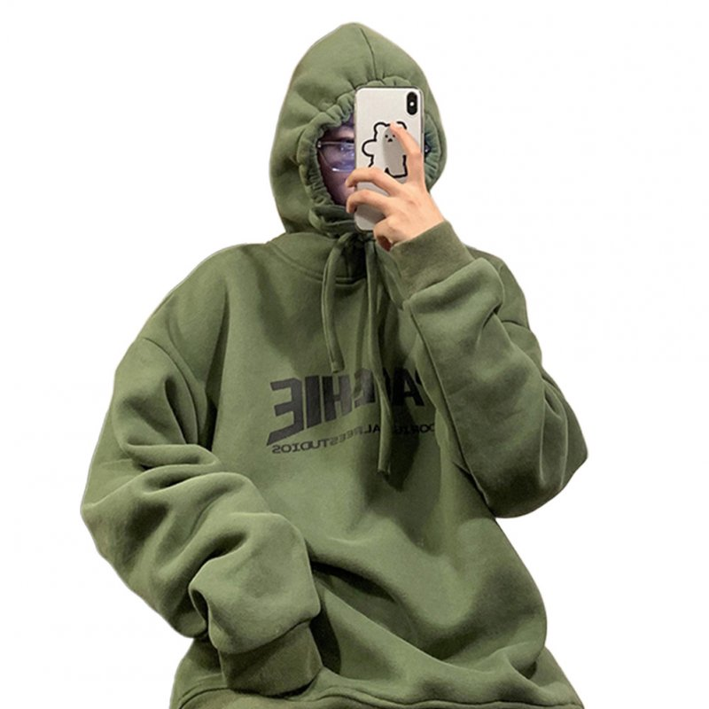 Men Women Hoodie Sweatshirt Printing Letter Fashion Loose Autumn Winter Pullover Tops Green_2XL