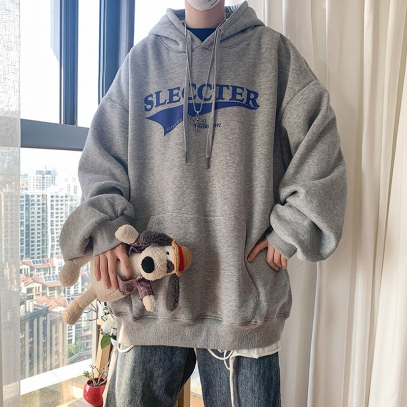 Men Women Hoodie Sweatshirt Letter Printing Fashion Loose Pullover Casual Tops Light gray_M