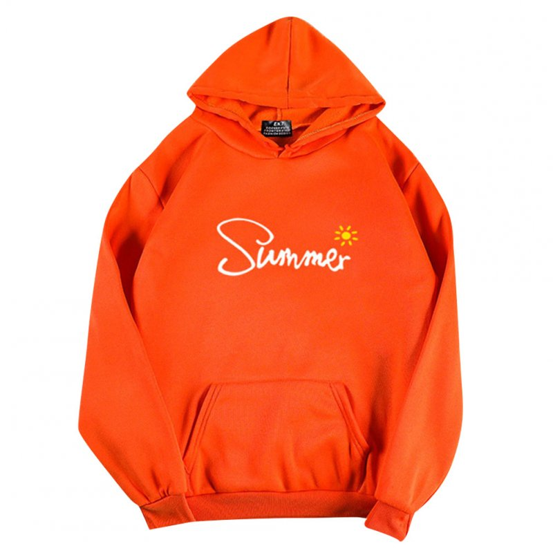 Men Women Hoodie Sweatshirt Thicken Velvet Summer Sun Autumn Winter Loose Pullover Tops Orange_L