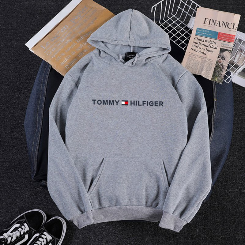 Men Women Hoodie Sweatshirt Printing Letters Thicken Velvet Loose Fashion Pullover Gray_S