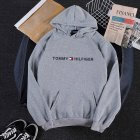 Men Women Hoodie Sweatshirt Printing Letters Thicken Velvet Loose Fashion Pullover Gray_L