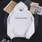 Men Women Hoodie Sweatshirt Printing Letters Thicken Velvet Loose Fashion Pullover White_M