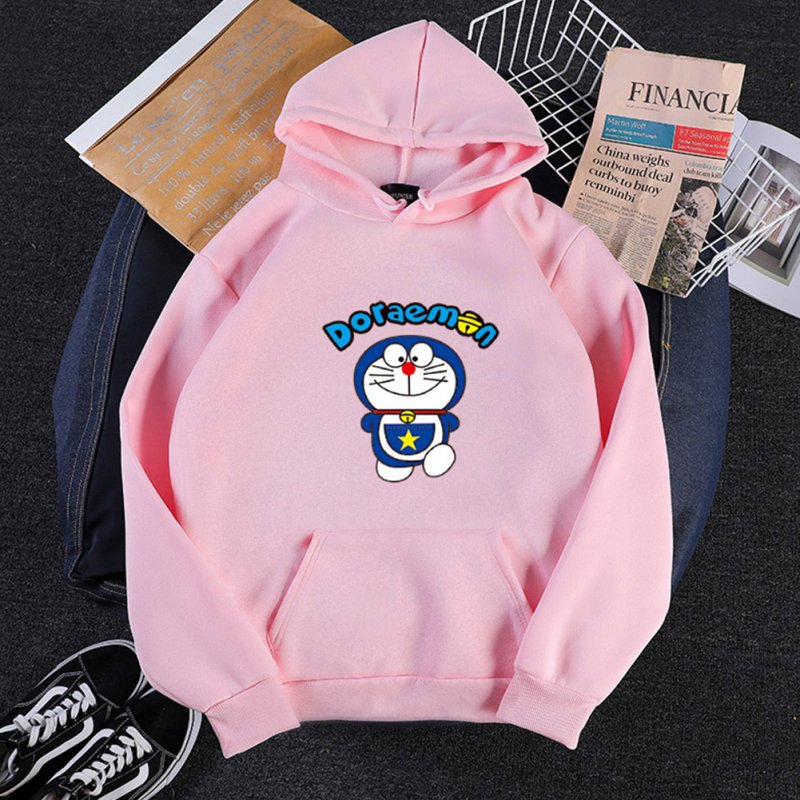 Men Women Hoodie Sweatshirt Doraemon Cartoon Thicken Loose Autumn Winter Pullover Tops Pink_XXL