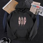 Men Women Hoodie Sweatshirt Three Leaves Thicken Velvet Autumn Winter Loose Pullover Black_L