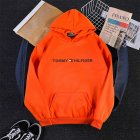 Men Women Hoodie Sweatshirt Printing Letters Thicken Velvet Loose Fashion Pullover Orange L