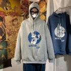 Men Women Hoodie Sweatshirt Cartoon Rabbit Printing Fashion Loose Pullover Casual Tops Light gray_XXXL