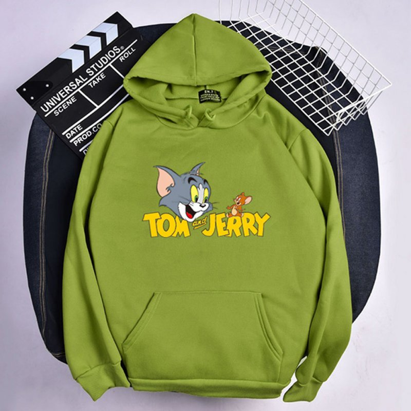 Men Women Hoodie Sweatshirt Tom and Jerry Cartoon Thicken Loose Autumn Winter Pullover Tops Green_S