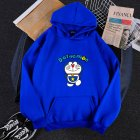 Men Women Hoodie Sweatshirt Cartoon Doraemon Thicken Loose Autumn Winter Pullover Tops Blue_S