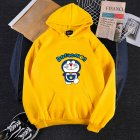 Men Women Hoodie Sweatshirt Cartoon Doraemon Thicken Loose Autumn Winter Pullover Tops Yellow_M
