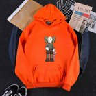Men Women Hoodie Sweatshirt KAWS Cartoon Standing Doll Thicken Autumn Winter Loose Pullover Orange_M