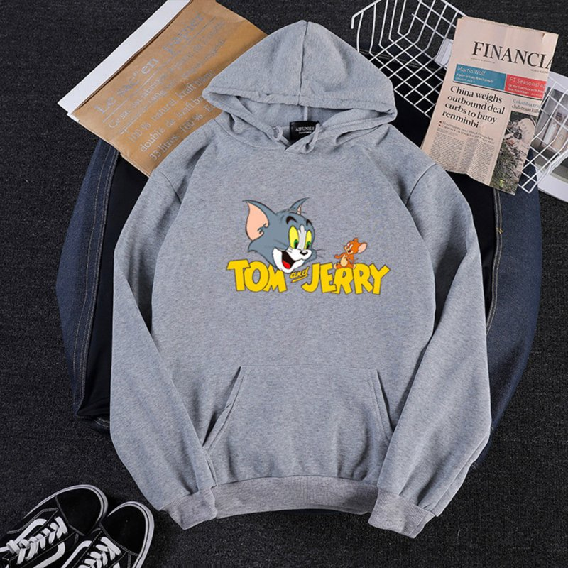 Men Women Hoodie Sweatshirt Thicken Velvet Tom and Jerry Loose Autumn Winter Pullover Tops Gray_L
