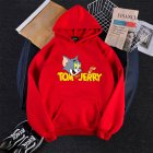 Men Women Hoodie Sweatshirt Thicken Velvet Tom and Jerry Loose Autumn Winter Pullover Tops Red_L