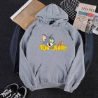 Men Women Hoodie Sweatshirt Thicken Velvet Tom and Jerry Loose Autumn Winter Pullover Tops Gray_M