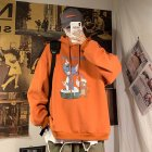 Men Women Hoodie Sweatshirt Tom and Jerry Cartoon Printing Loose Fashion Pullover Tops Orange red_M