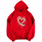 Men Women Hoodie Sweatshirt Happy Family Heart Thicken Loose Autumn Winter Pullover Tops Red_L
