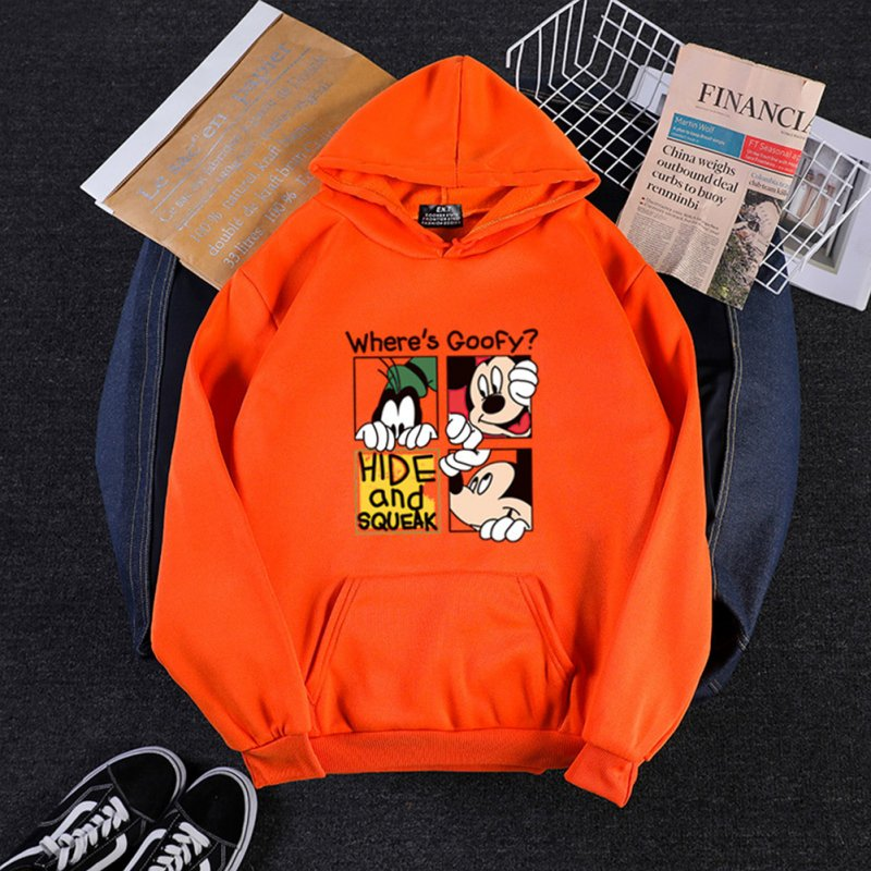 Men Women Hoodie Sweatshirt Cartoon Micky Mouse Thicken Autumn Winter Loose Pullover Orange_S