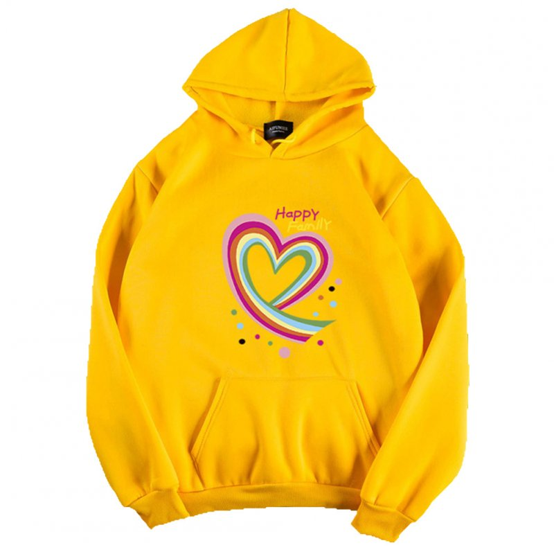 Men Women Hoodie Sweatshirt Happy Family Heart Thicken Autumn Winter Loose Pullover Tops Yellow_L