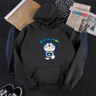 Men Women Hoodie Sweatshirt Doraemon Cartoon Loose Thicken Autumn Winter Pullover Tops Black_L