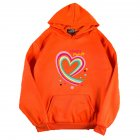 Men Women Hoodie Sweatshirt Happy Family Heart Thicken Autumn Winter Loose Pullover Tops Orange XL