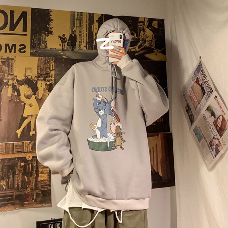 Men Women Hoodie Sweatshirt Tom and Jerry Cartoon Printing Loose Fashion Pullover Tops Apricot_L
