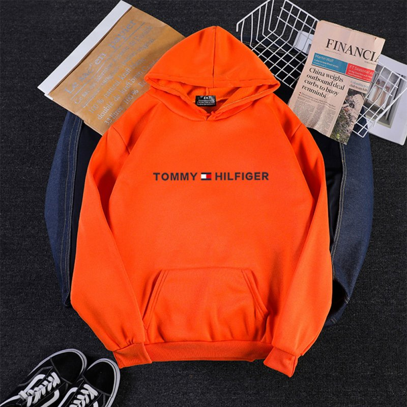 Men Women Hoodie Sweatshirt Printing Letters Thicken Velvet Loose Fashion Pullover Orange_M
