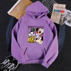 Men Women Hoodie Sweatshirt Micky Mouse Cartoon Thicken Autumn Winter Loose Pullover Purple_M