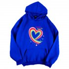 Men Women Hoodie Sweatshirt Happy Family Heart Thicken Autumn Winter Loose Pullover Tops Blue XL