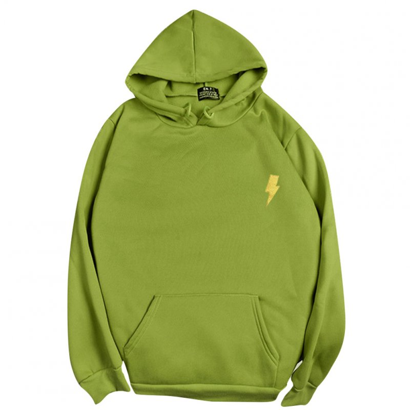Men Women Hoodie Sweatshirt Thicken Velvet Loose Flash Autumn Winter Pullover Tops Green_M