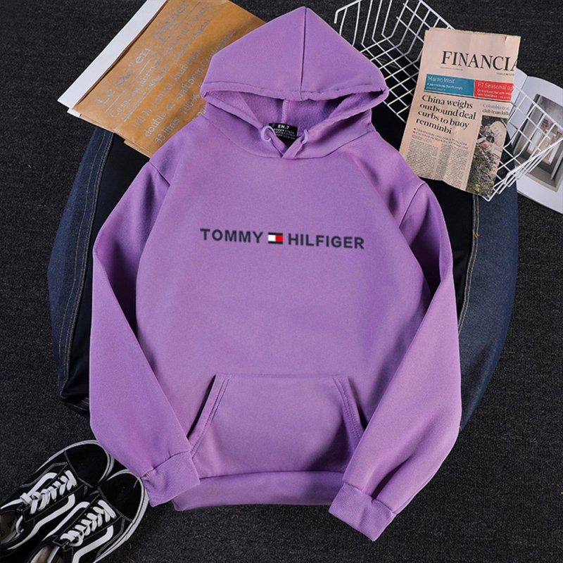 Men Women Hoodie Sweatshirt Printing Letters Thicken Velvet Loose Fashion Pullover Purple_L