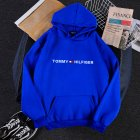 Men Women Hoodie Sweatshirt Printing Letters Thicken Velvet Loose Fashion Pullover Blue_S