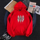 Men Women Hoodies Oversize Sweatshirt Loose Thicken Plush Autumn Winter Pullover Red_L