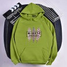Men Women Hoodies Oversize Sweatshirt Loose Thicken Plush Autumn Winter Pullover Green_XXL