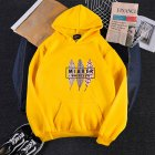 Men Women Hoodies Oversize Sweatshirt Loose Thicken Velvet Autumn Winter Pullover Yellow_L