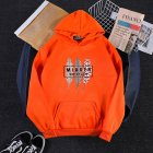 Men Women Hoodies Oversize Sweatshirt Loose Thicken Velvet Autumn Winter Pullover Orange_L