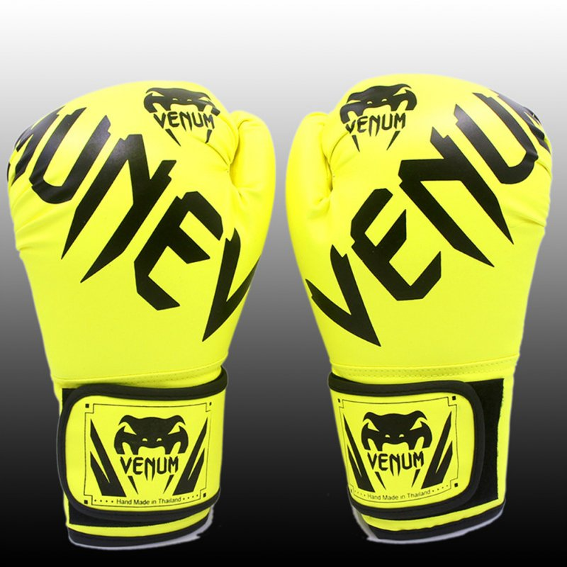Men Women Kids PU Leather Kick Boxing Gloves Thai Boxing Sports Hands Protector Fluorescent green_One size M