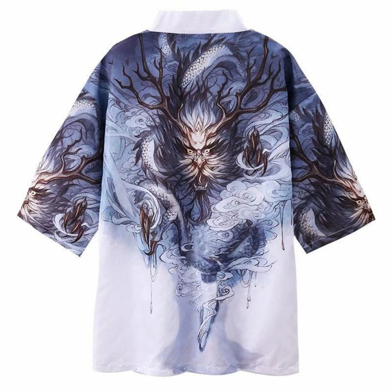 Men Women Kimono Dragon Claw Print Cardigan Robe Loose 3/4 Sleeve Thin Summer Garment Coat Dragon Claw_M