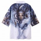 Men Women Kimono Dragon Claw Print Cardigan Robe Loose 3/4 Sleeve Thin Summer Garment Coat Dragon Claw_XXL