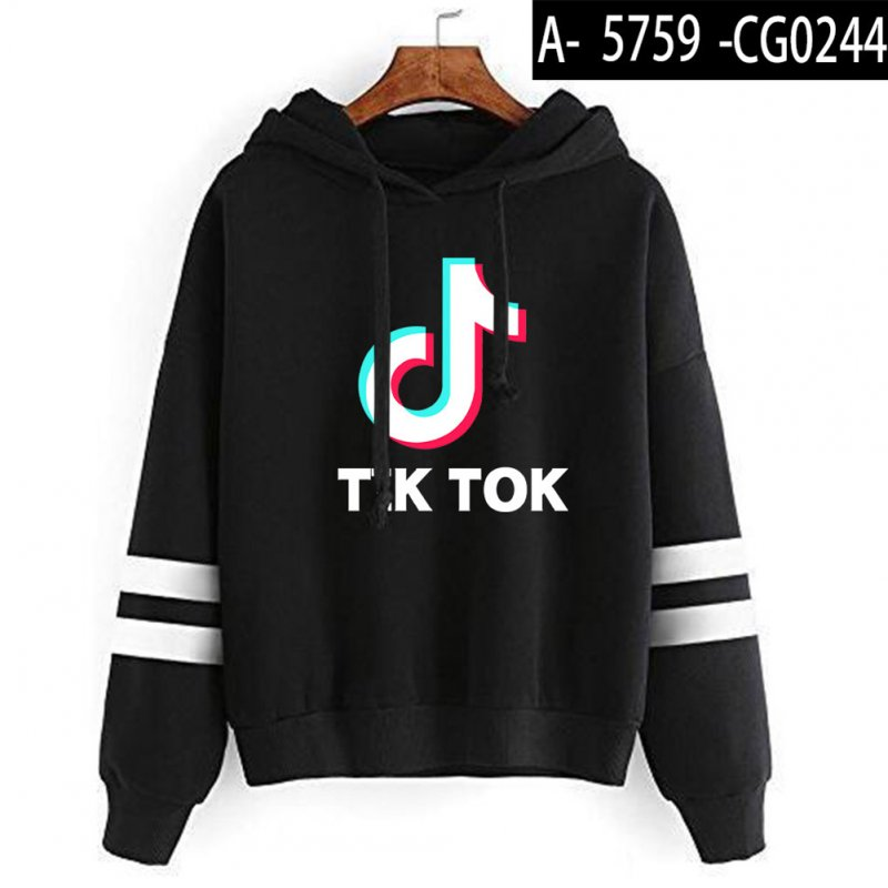 Men Women Letters Printing Long Sleeve Sport Casual Work Hoodies Pullover Sweatshirt Black A_XXL