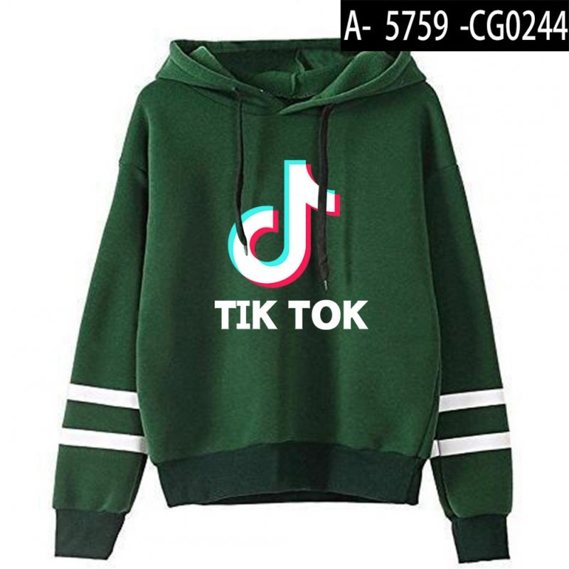 Men Women Letters Printing Long Sleeve Sport Casual Work Hoodies Pullover Sweatshirt Green A_S