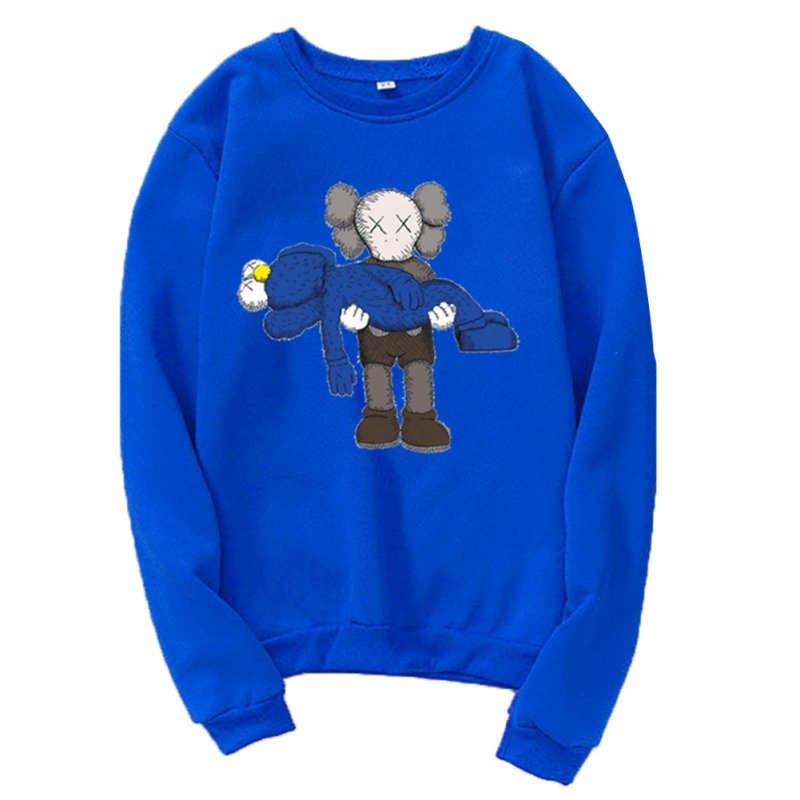 Men Women Loose Cute Cartoon Printing Round Collar Fleece Sweatshirts blue_L