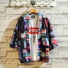Men Women Loose Printing Sunscreen Three Quarter Sleeve Kimono Cardigan Shirt 131_M