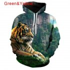 Men Women Lovers 3D Climbing Tiger Printing Hooded Sweatshirts Autumn Winter Creeper_M