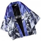 Men Women Lovers Retro Style Snowscape Printing Medium Sleeve Loose Thin Kimono Cardigan 1925# purple blue_XXL