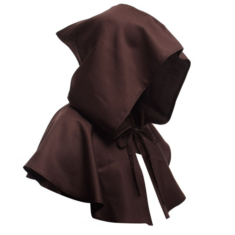 Men Women Medieval Windcap Halloween Witch Hooded Cloak Cape Witchcraft Pagan Role Playing brown_One size