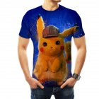 Men Women Pokemon's Detective Pikachu Cosplay 3D Movie Cartoon Printing Short Sleeve T-Shirt  D_XS